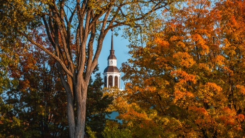 Fall foliage and Baker tower