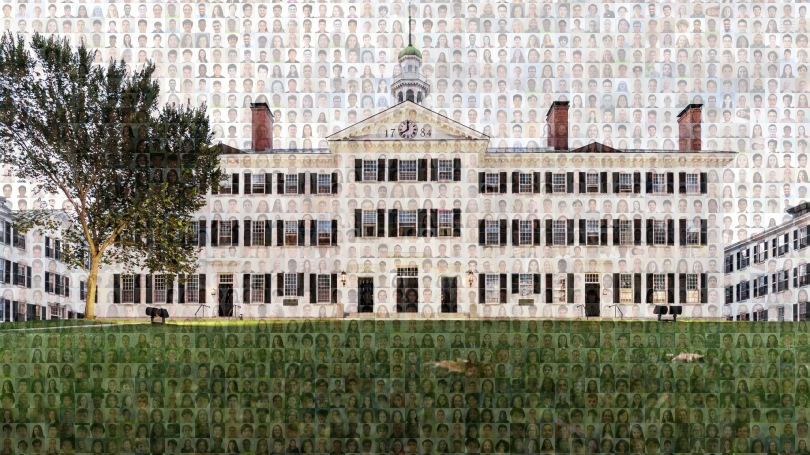 Mosaic of class of '24 and Dartmouth Hall