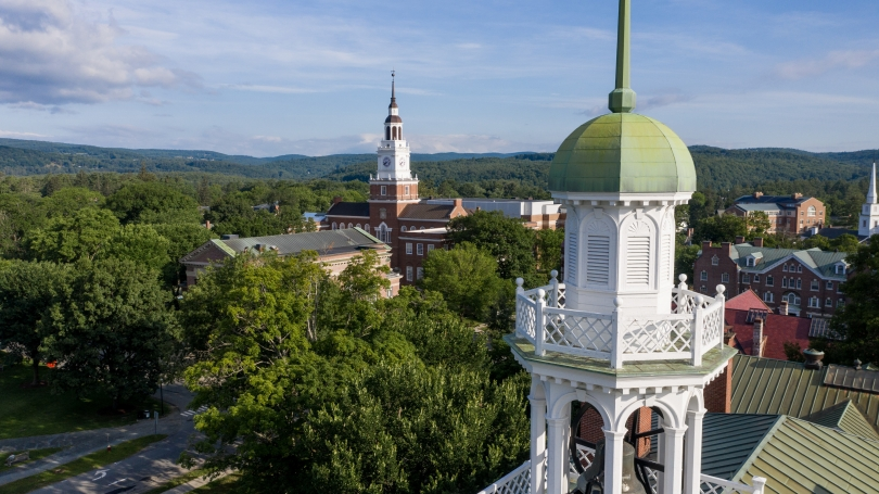 Views of Dartmouth Hall tower and Baker Berry tower
