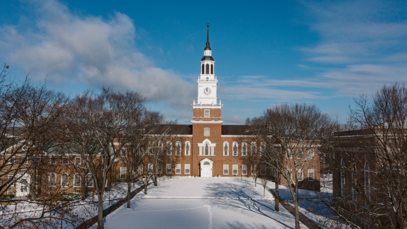 Baker library in the snow