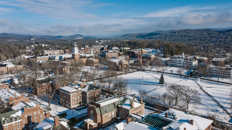 Dartmouth campus in winter from above