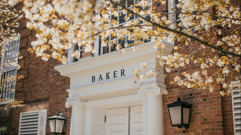 Baker entrance and spring flowers