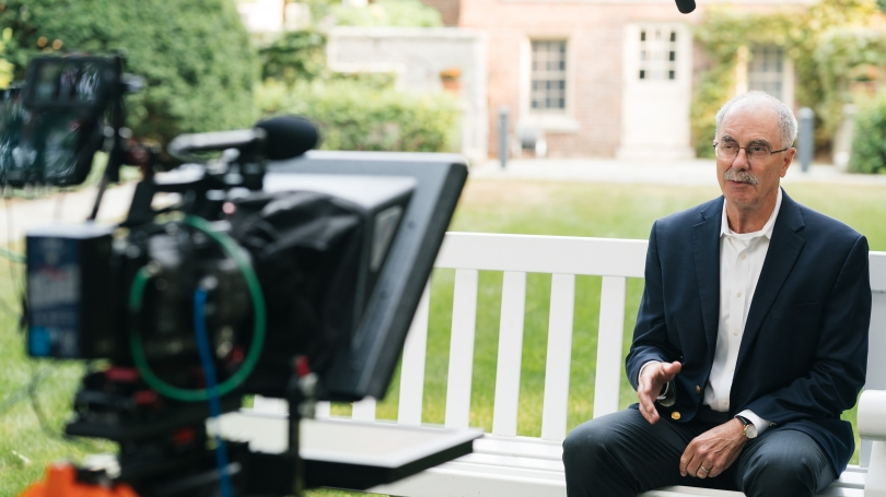President Philip J. Hanlon '77 records this year's online welcome back message.