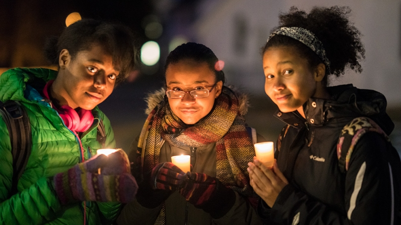 Dartmouth Students at the Annual MLK Candlelight Walk and Vigil