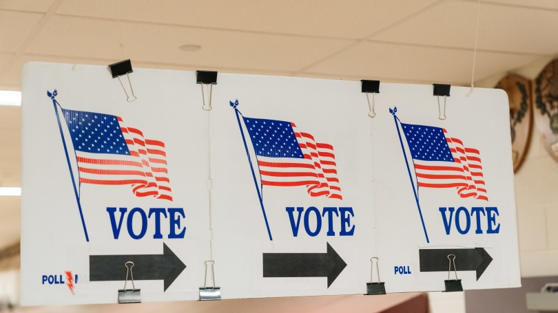 Hanover High School voting signs
