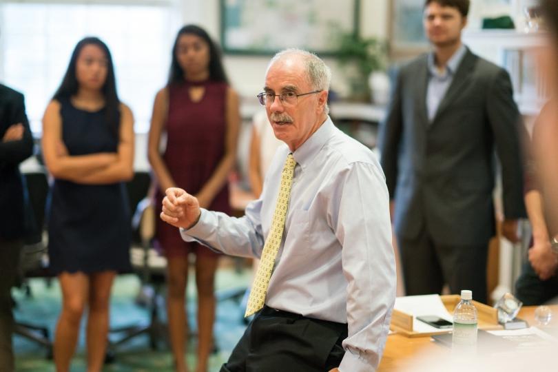 Philip J. Hanlon '77 talks to students