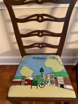 Commemorative chair for former Dartmouth President Jim Yong Kim